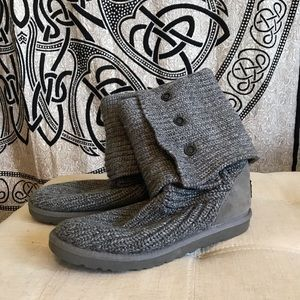 Grey Knit Ugg Cardy Boots size 9